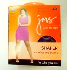 JMS Just My Size Shaper Pantyhose Sheer Toe 91315 Jet Black Size 4X Lot of 2
