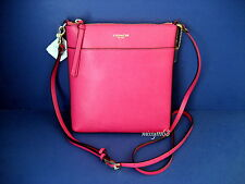 NWT Coach North/South Swingpack in Saffiano Leather 51313 Light Gold/Pink Ruby