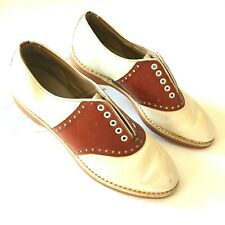 Vintage Spalding Womens Saddle Shoes Size 6 50s 60s 70s 80s White Brown Oxfords