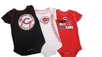 Cincinnati Reds Official MLB Baby Infant Size 3 Piece Creeper Bodysuit Set New