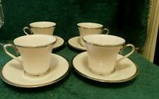 New ListingLenox Solitaire Cups and Saucers Footed Cup Federal Platinum Set-4