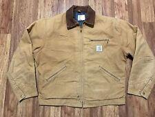 Mens Vtg Carhartt J01 Detroit Duck Blanket Lined Rancher Work Jacket 46 USA