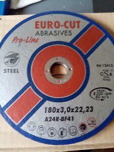 Euro Cut 180mm x 3mm Pro Metal Flat Cutting Discs Box of 25 or 50