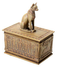 Ancient Egyptian Sandstone Color Bastet Jewelry Box Keepsake Figurine Statue