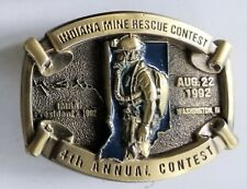 Vintage Indiana Mine Rescue Contest Belt Buckle 4th Annual 1992
