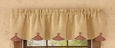 Window Curtain - Scalloped Valance - Sturbridge Burlap & Check in Wine