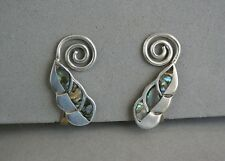 Taxco Mexico Sterling Silver Abalone Earrings Signed A Munoz Vintage Leaf Vine