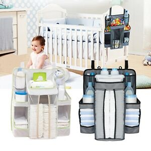 Hanging Nursery and Diaper Organizer Storage Bag for Baby Crib Changing Table