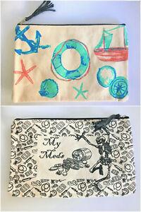 Eco friendly lined cotton canvas make-up bag pencil case medicine bag