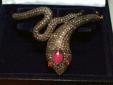 Diamond Snake Design Ruby Party Bracelet Estate Handmade Antique Rose Cut 8.40ct