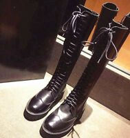 Womens Leather Flat Heel Round Toe Knee High Riding Boots Lace Up Punk Shoes I5