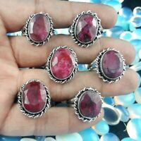 Ruby Gemstone Jewelry 925 Sterling Silver Overlay Rings 3 Pcs Wholesale Lot S-11