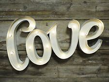 LOVE Vintage Carnival White Large LED Light Up Metal Wall Art Letters 70cm Sign
