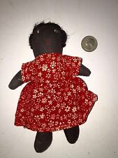 Antique Black Baby Cloth Doll Red Calico Dress Authentic Black Americana