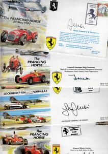 CC Italian Air Force aircraft / Ferrari car covers signed ITAF officers & flown