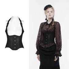 Punk Rave Gothic corsé negro Mieder Corsage con cuello de cisne corset Victorian