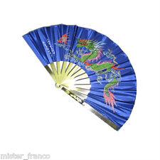 VENTAGLIO DRAGO BLUE KUNG FU CHOY LI FOT TAI JI GONG CINESE TAIJI GONG METAL FAN