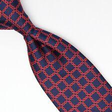 Bloomingdales Hombre Seda Corbata Azul Marino Rojo Cadena Enlace Cuadrado