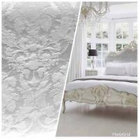 Designer Brocade Satin Fabric- Bleached White- Drapery Upholstery Damask