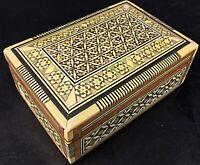 Superbe rare (musée du Caire)  boîte à bijoux vintage en bois marqueté et nacré