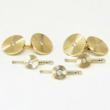 NYJEWEL Tiffany & Co 14k Yellow Gold 0.3ct Diamond Cufflinks Shirt Stud Set