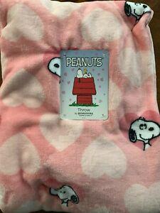 "Pink Berkshire Velvet Soft Peanuts Snoopy Hearts Throw Blanket 50"" X 70"""