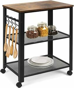 Serving Cart Kitchen Rolling Microwave Coffee Carrito Para Cocina Con Ruedas