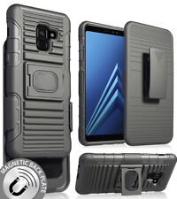 Black Magnet Grip Case + Belt Clip Holster Stand for Samsung Galaxy A8 (2018)