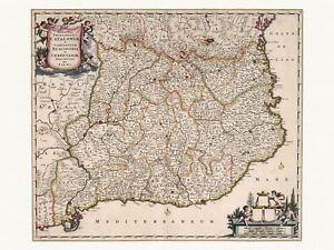 Old Antique Decorative Map of Catalonia Spain de Wit ca. 1682