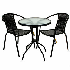 3 PIECE GARDEN PATIO ALL WEATHER BLACK WICKER BISTRO SET PATIO OUTDOOR  FURNITURE