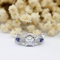 Princess Cut Diamond Blue Sapphire Engagement Ring 10K White Gold Finish 2.00 Ct