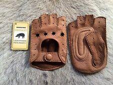 Men's Peccary Leather Gloves Fingerless Palm Padded Brown Black Cognac Tan