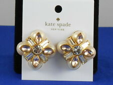 Kate Spade Gold COCKTAILS & CONVERSATION Faux Pearl Crystal Stud Earrings $98