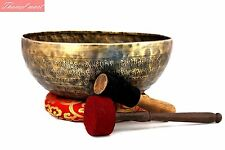 "12""Mantra carved singing bowl-Green tara carved  bowl Real handmade Thamel Mart"