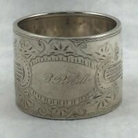 Fancy Etched Sterling Napkin Ring- Mono'd- 1 1/8""