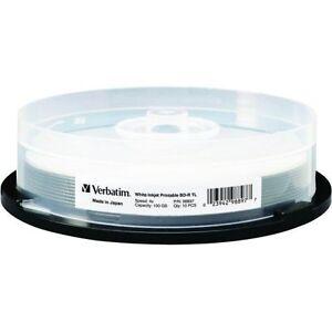 VERBATIM 4X Blu-Ray BD-R XL 100GB White Inkjet Hub Printable 10 pk Spindle 98897