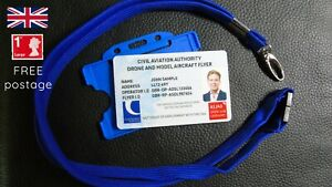 UK CAA registered Drone Operator ID card with your photo + lanyard & 3 Stickers