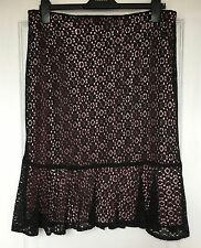 "NEW ""M&S Collection"" Women's Skirt, Size 14, Black lace effect, baby pink inner"