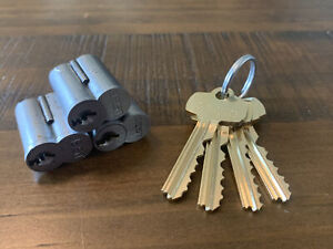 """Lot of (3) BEST SFIC 7-Pin Cores Keyed-Alike """"M"""" Keyway w/ 3 Keys and Control"""