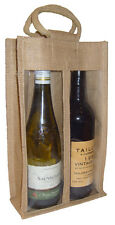 DOUBLE WINE BOTTLE JUTE BAG with Window, Partition and Cotton Corded Handles -