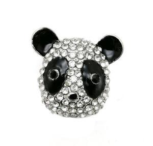 3DCrystal Cute Panda Chunk Charm Snap Button Fit 18mm Snap Necklace/Bracelet