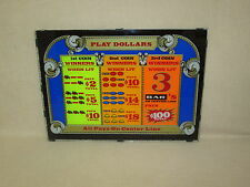 """PRE-1970's, BALLY'S """"PLAY DOLLARS"""" 3 COIN, MECHANICAL SLOT MACHINE - GLASS FACE"""