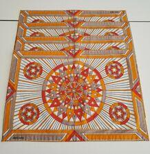 80s Vintage Hermes Orange Sunburst placemat & napkin set of 4 AUTH