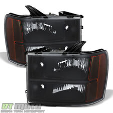 2007-2013 GMC Sierra 1500 2500HD 3500HD Replacement Black Headlights Lamps 07-13