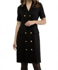 Escada Classic Vintage Black Short Sleeve Military Dress Gold Buttons  Size 38