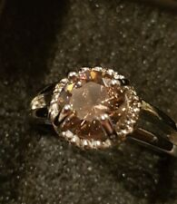 Art Faceted Champagne Simulated Diamond Coloured Dress Statement Ring Sz 8