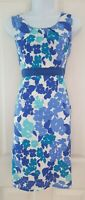 Womens Boden Dress size 8 blue white floral cotton sumer holiday pencil vgc