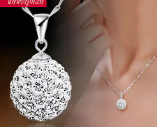 Fashion 925 Sterling Silver Women's Chain Crystal Rhinestone Necklace Pendant