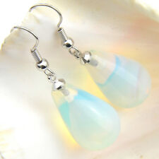 Elegant Jewelry Gift Rainbow Moonstone Gems Silver Dangle Hook Earrings Gift