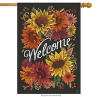 """Fall Flowers Welcome Primitive House Flag Sunflowers Pinecones 28"""" x 40"""""""